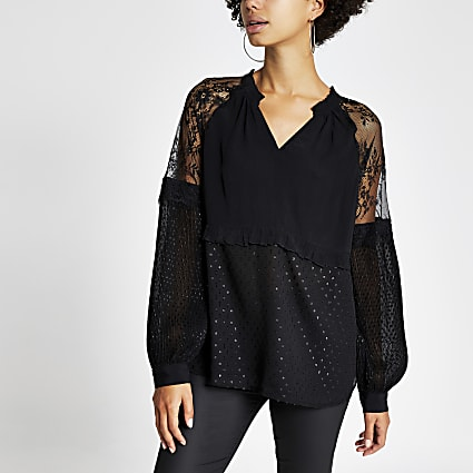 Black lace long sleeve V neck sheer top
