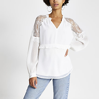 Cream lace long sheer sleeve V neck top