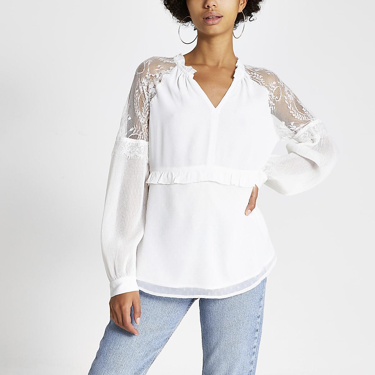Cream lace long sheer sleeve V neck top