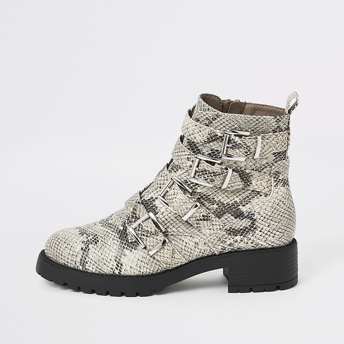 Beige snake print buckle chunky ankle boots