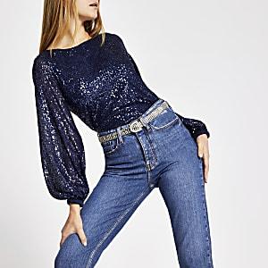 Top bleu ornéde sequins