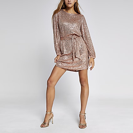 Pink sequin puff sleeve belted mini dress