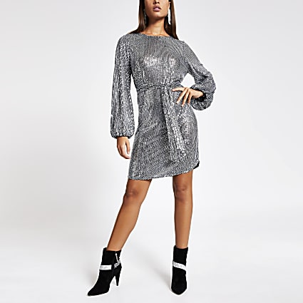 Silver sequin long puff sleeve belted dress