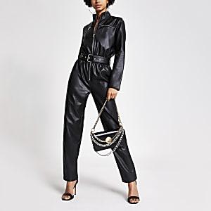Zwarte imitatieleren bodysuit