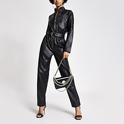 Black faux leather boiler jumpsuit