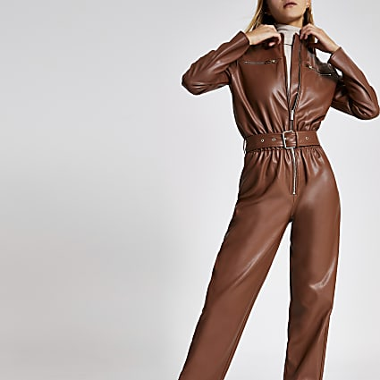 Brown faux leather boiler jumpsuit