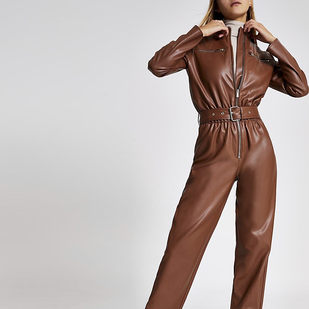Brown faux leather boiler jumpsuit