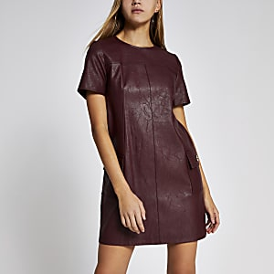 Dark red faux leather swing mini dress