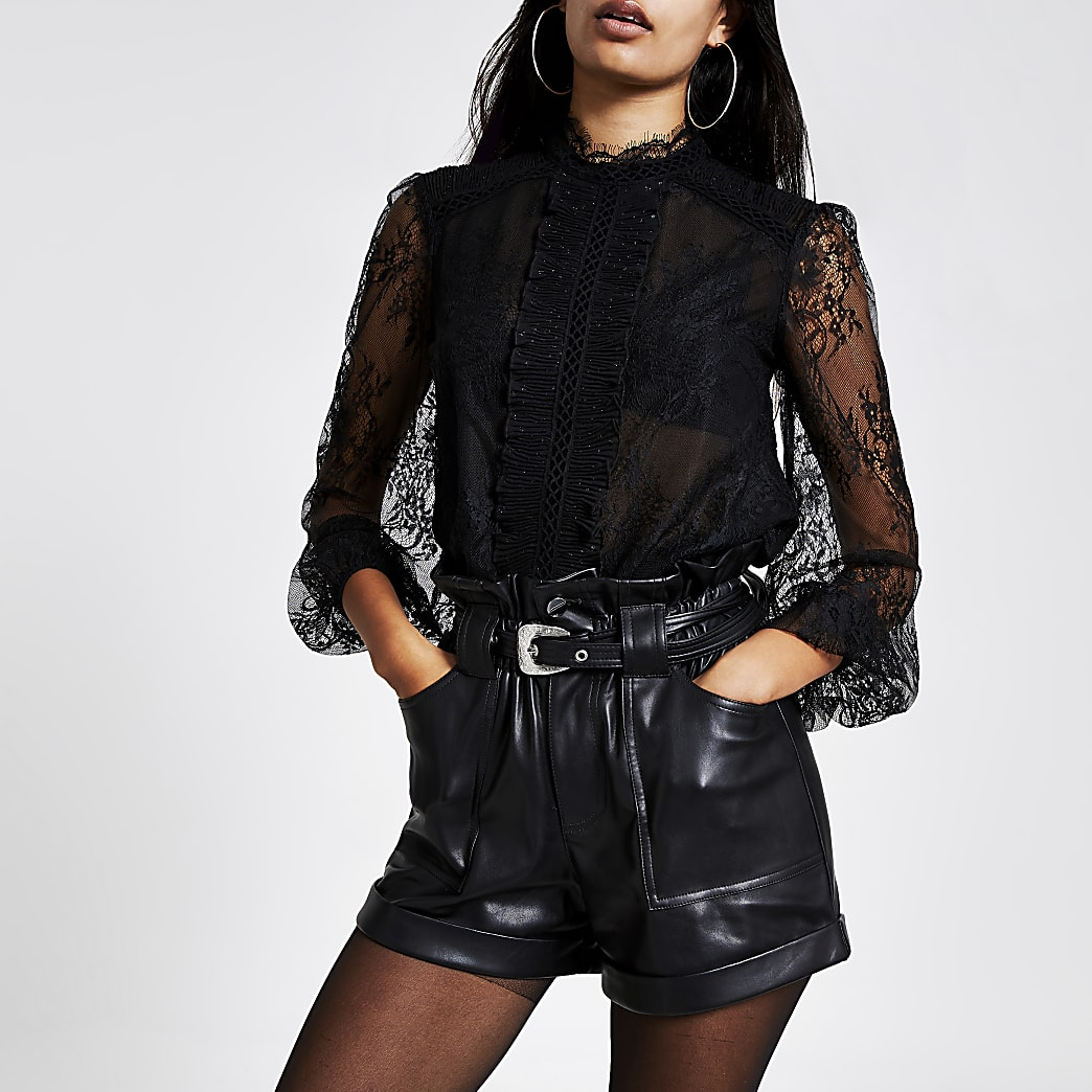 Black lace long sleeve frill front blouse