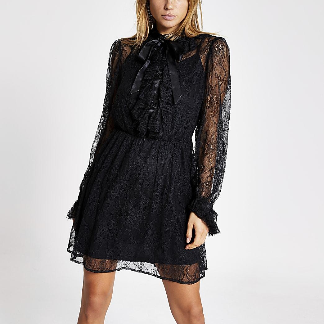 Black lace tie neck mini swing dress