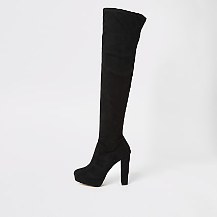 Black high leg wide fit platform heeled boots