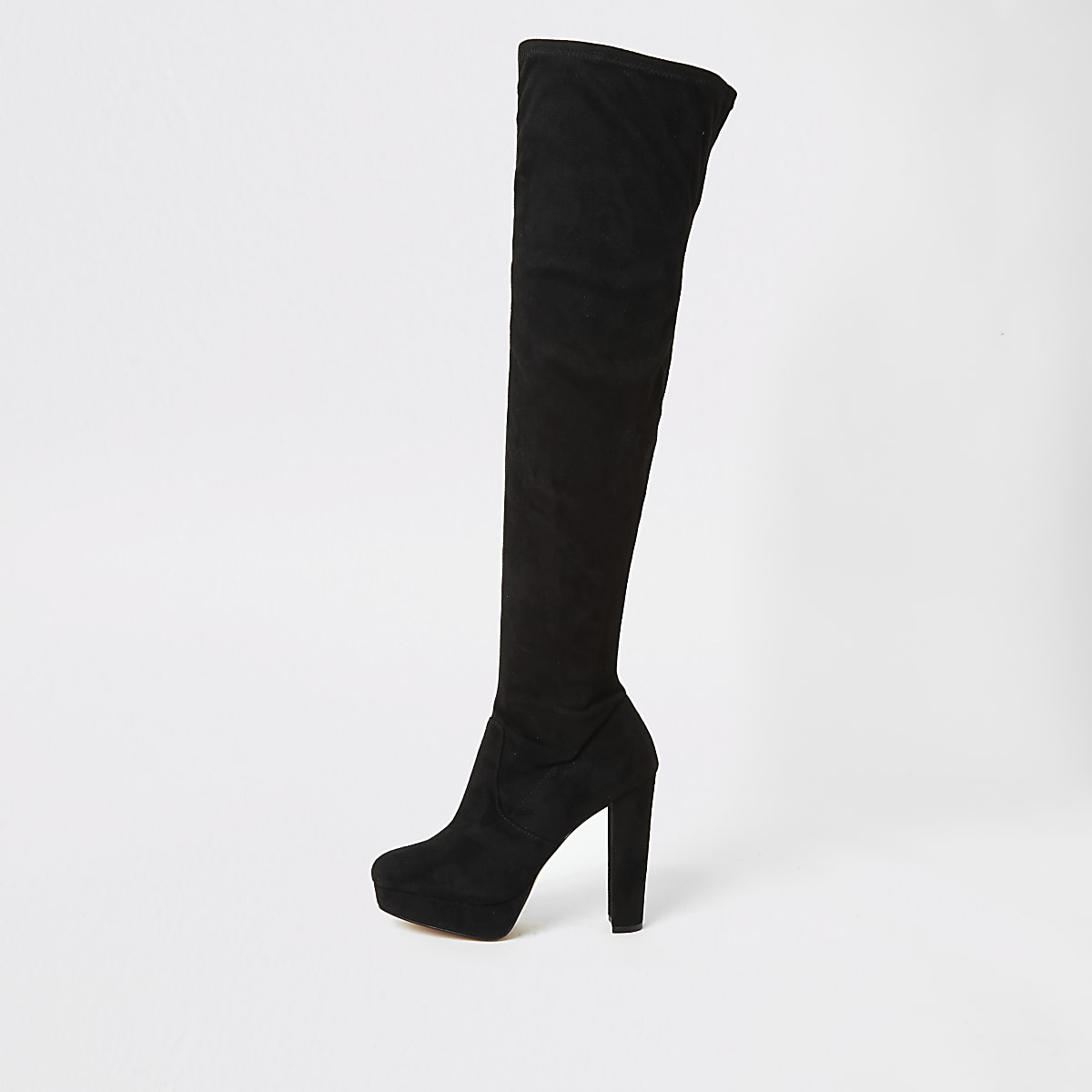 Zwarte hoge laarzen met brede pasvorm, plateauzool en hak
