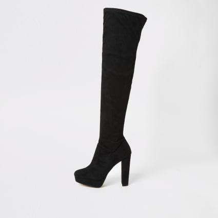 Black high leg wide fit platform heeled boots