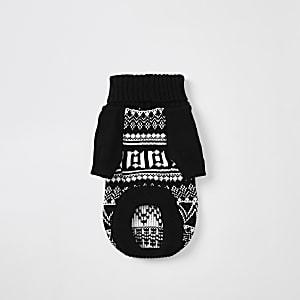 Zwarte gebreide pullover met RI-print en pied-de-poule-motief