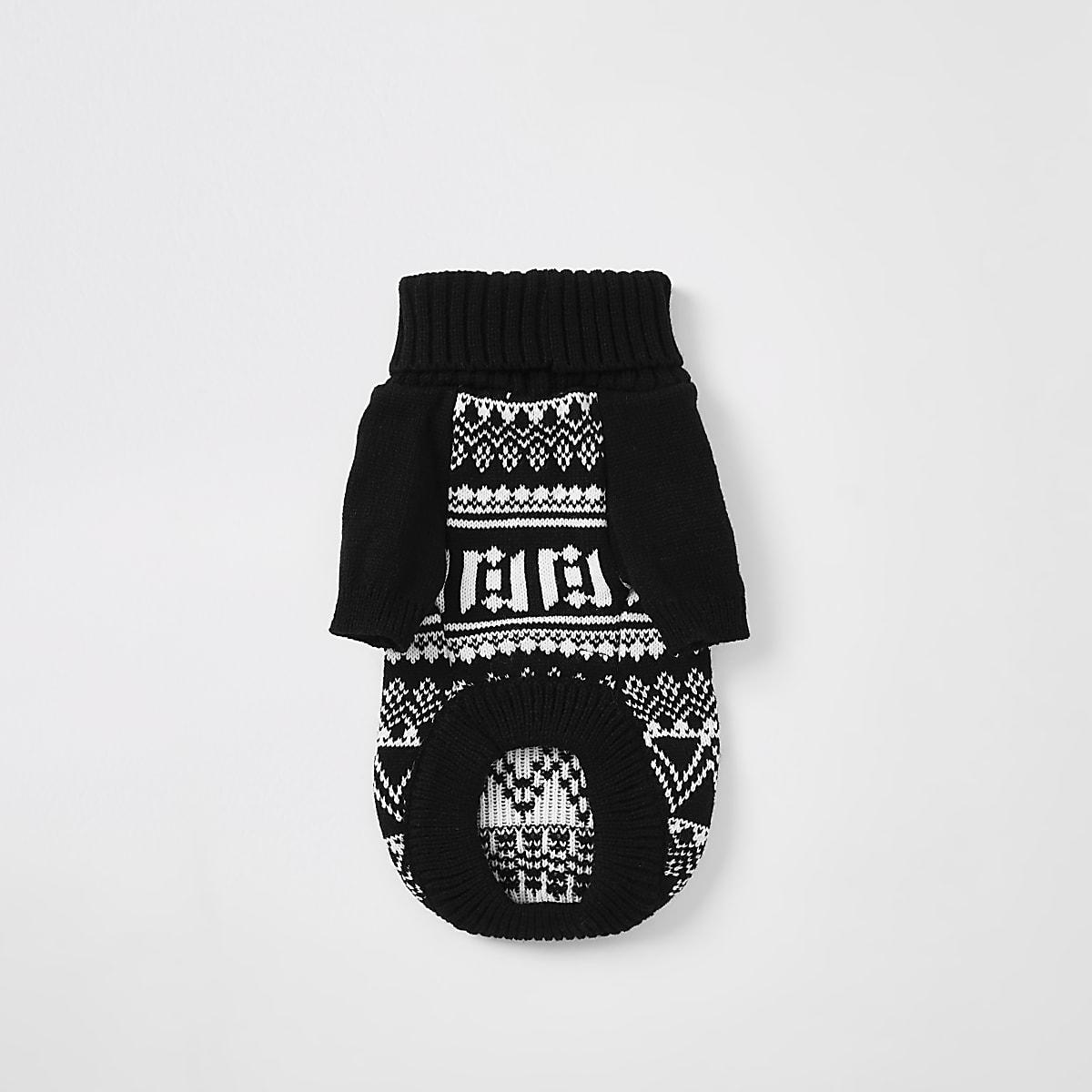 Black RI printed knitted dog jumper