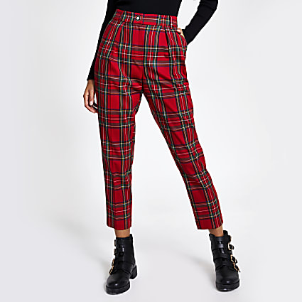 Red tartan check cigarette trousers