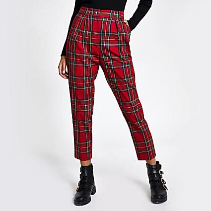 Red tartan check cigarette trousers