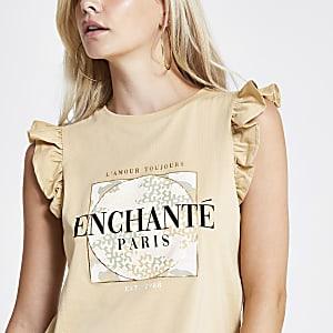 Petite beige 'Enchante' frill tank top