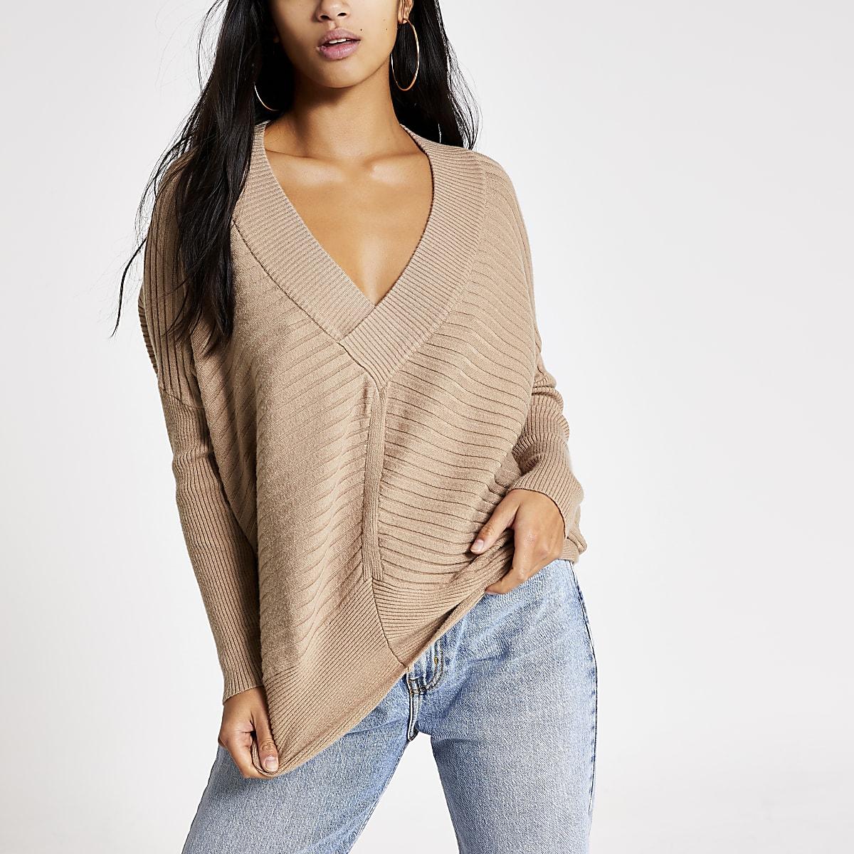 Petite camel rib knitted V neck jumper