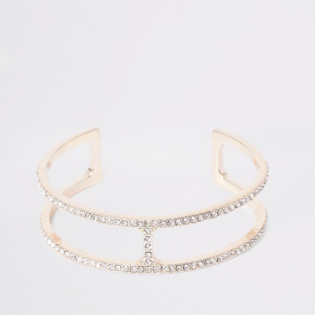 Roségoudkleurige brede armband