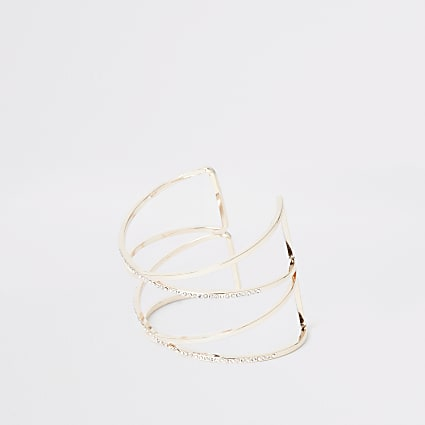 Rose gold colour double kiss cuff bracelet