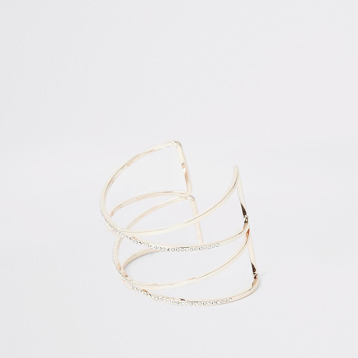 Roségoudkleurige dubbele brede armband