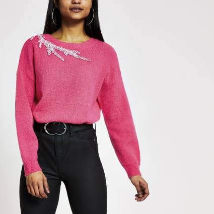 Petite pink embellished neck knitted jumper