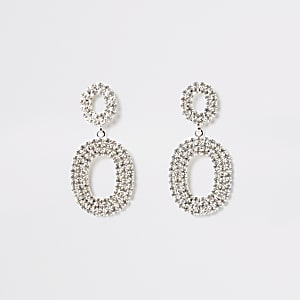 Silver colour oval drop diamante earrings