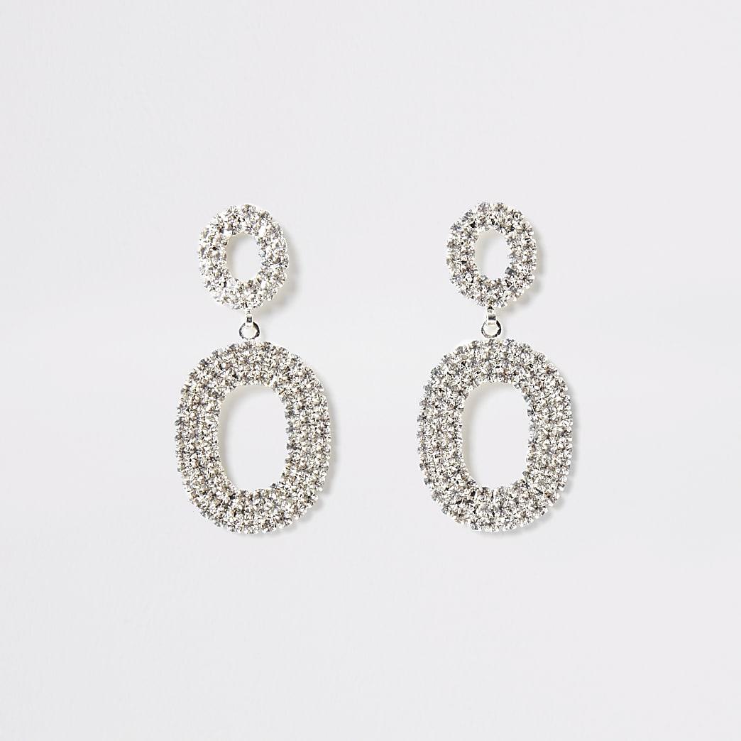 Silver colour oval drop diamante earrings
