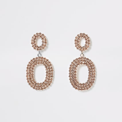Rose gold colour oval drop diamante earrings