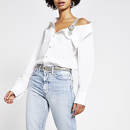 White long sleeve diamante shoulder shirt