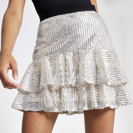 Silver sequin frill mini skirt