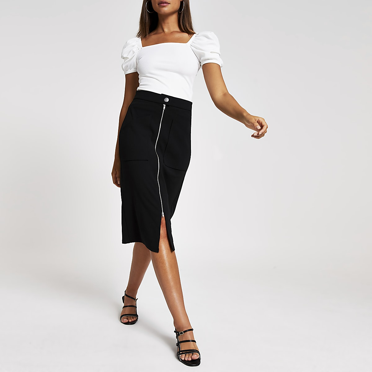 Black zip through pencil skirt