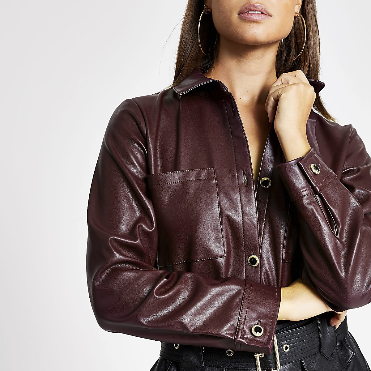 Dark red faux leather long sleeve shirt