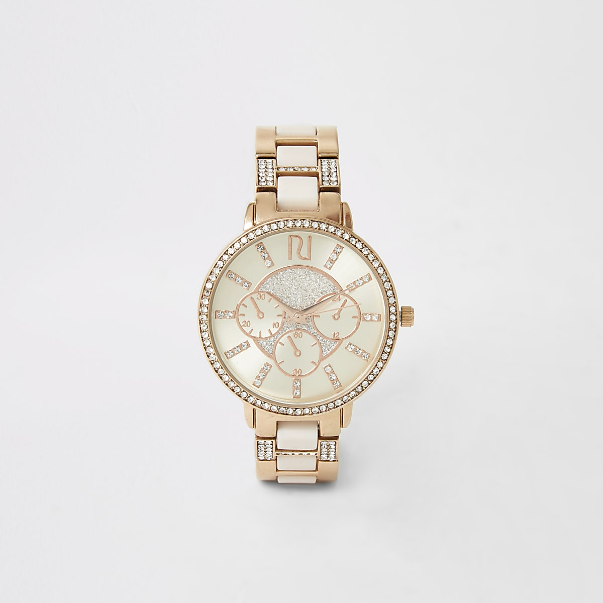 Pink rose gold colour diamante watch