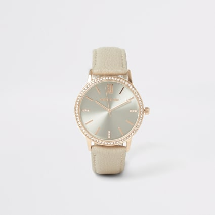 Rose gold colour diamante face watch