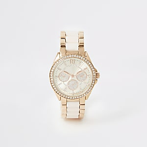 Pinke Armbanduhr mit Strassverzierung