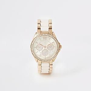 Roze roségoudkleurig mini-horloge met ring van siersteentjes