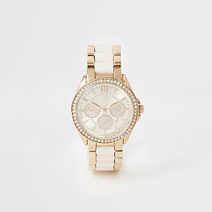 Pink rose gold diamante chain mini watch