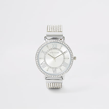 Silver colour diamante paved watch