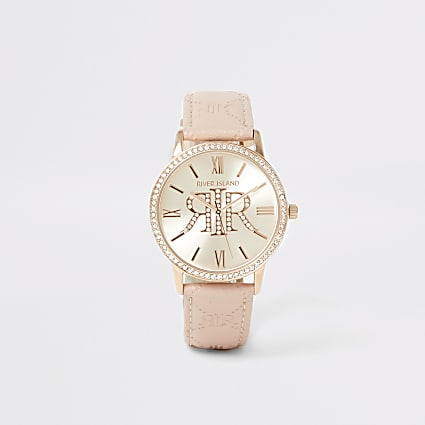 Pink diamante RI embossed strap watch