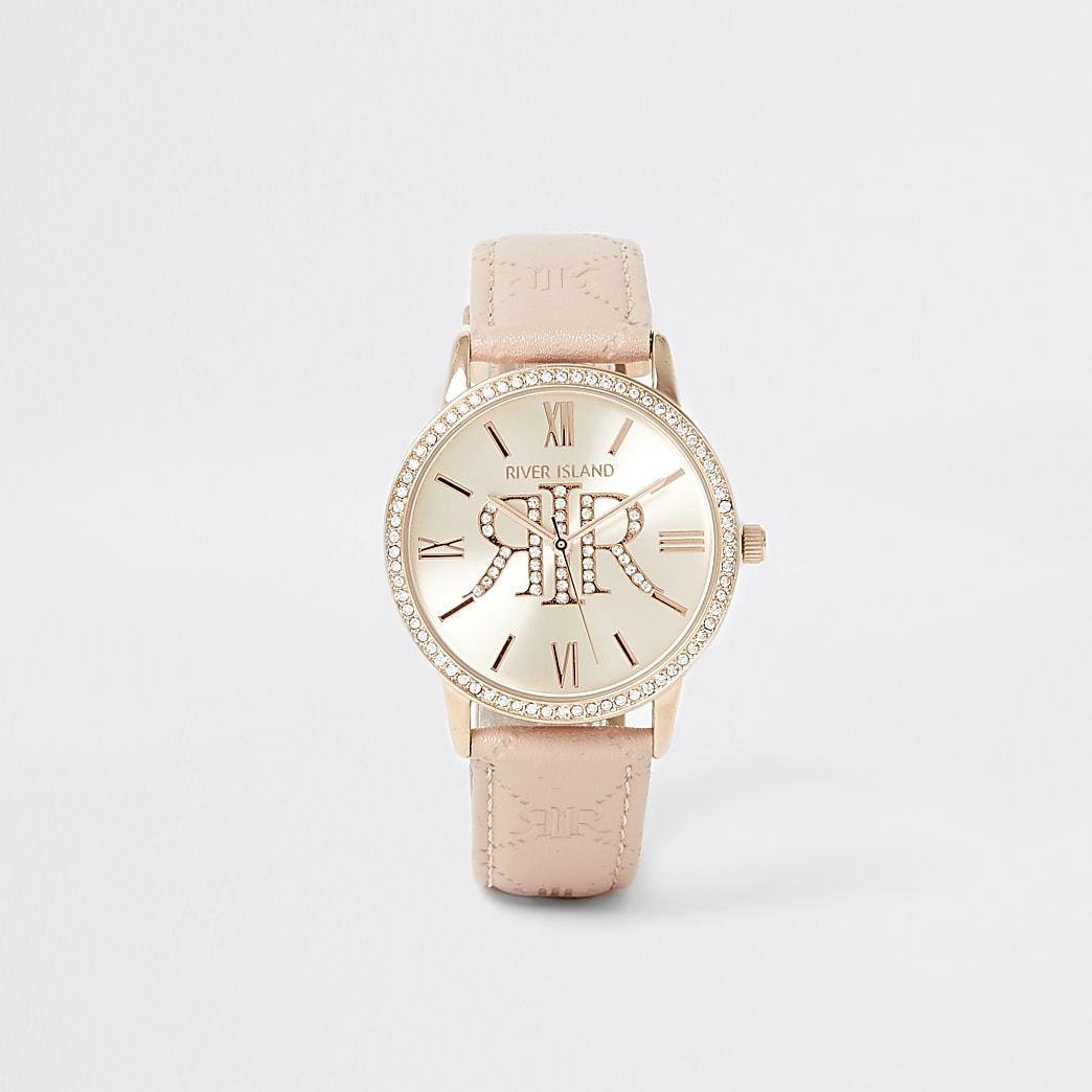 Pink diamante RI embossed strap watch