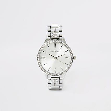 Silver diamante chain RI paved strap watch