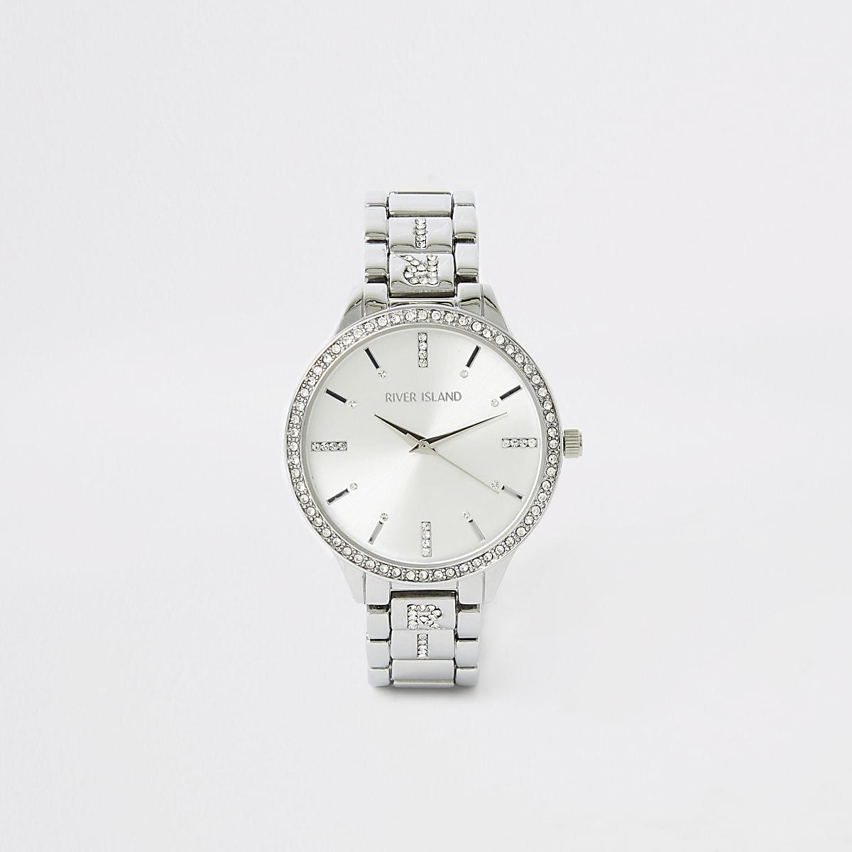 Zilverkleurig horloge met bandje met siersteentjes en RI-logo