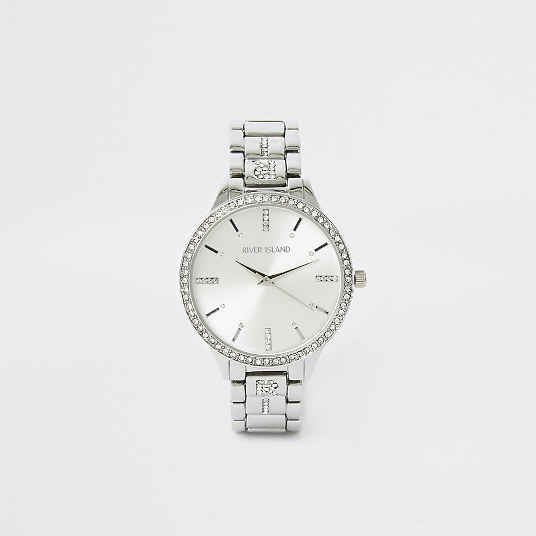 Silver diamante RI strap watch