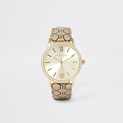 Gold diamante RI monogram strap watch