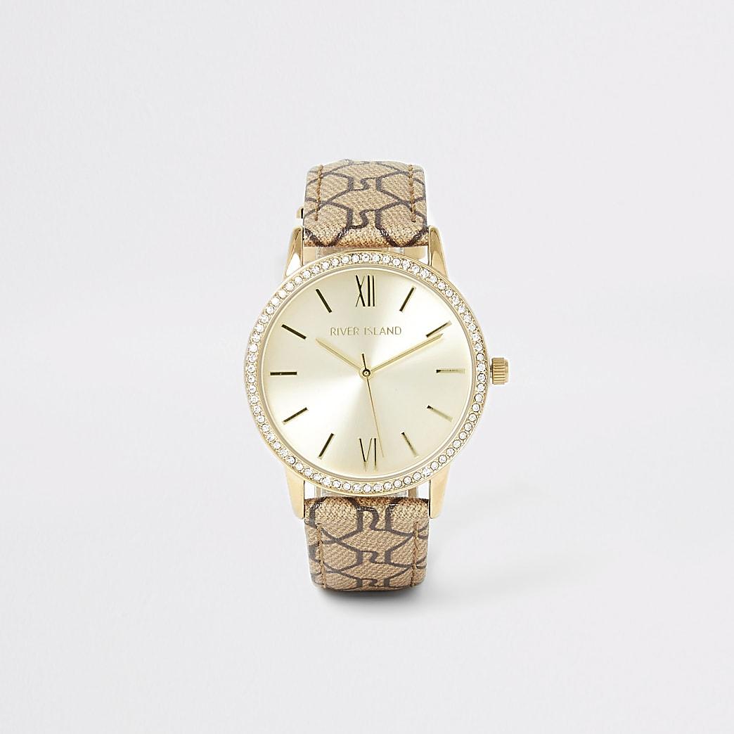 Gold colour diamante RI monogram strap watch