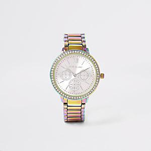 Multikleurig horloge met olievlekken en schakelband met siersteentjes
