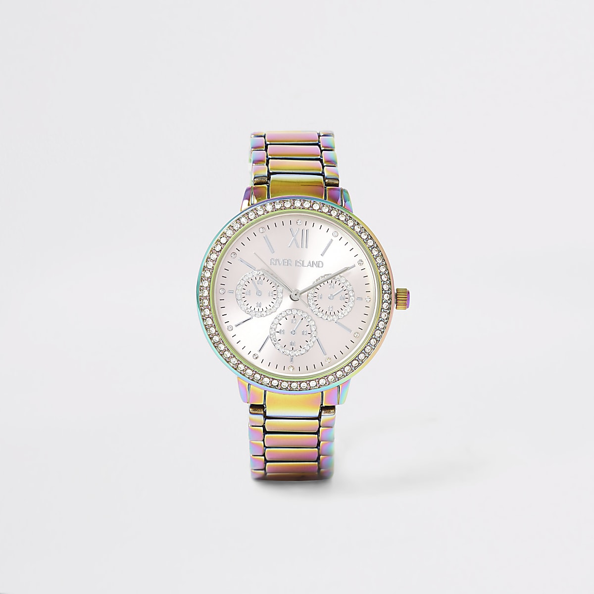 Multicolour oil slick diamante chain watch