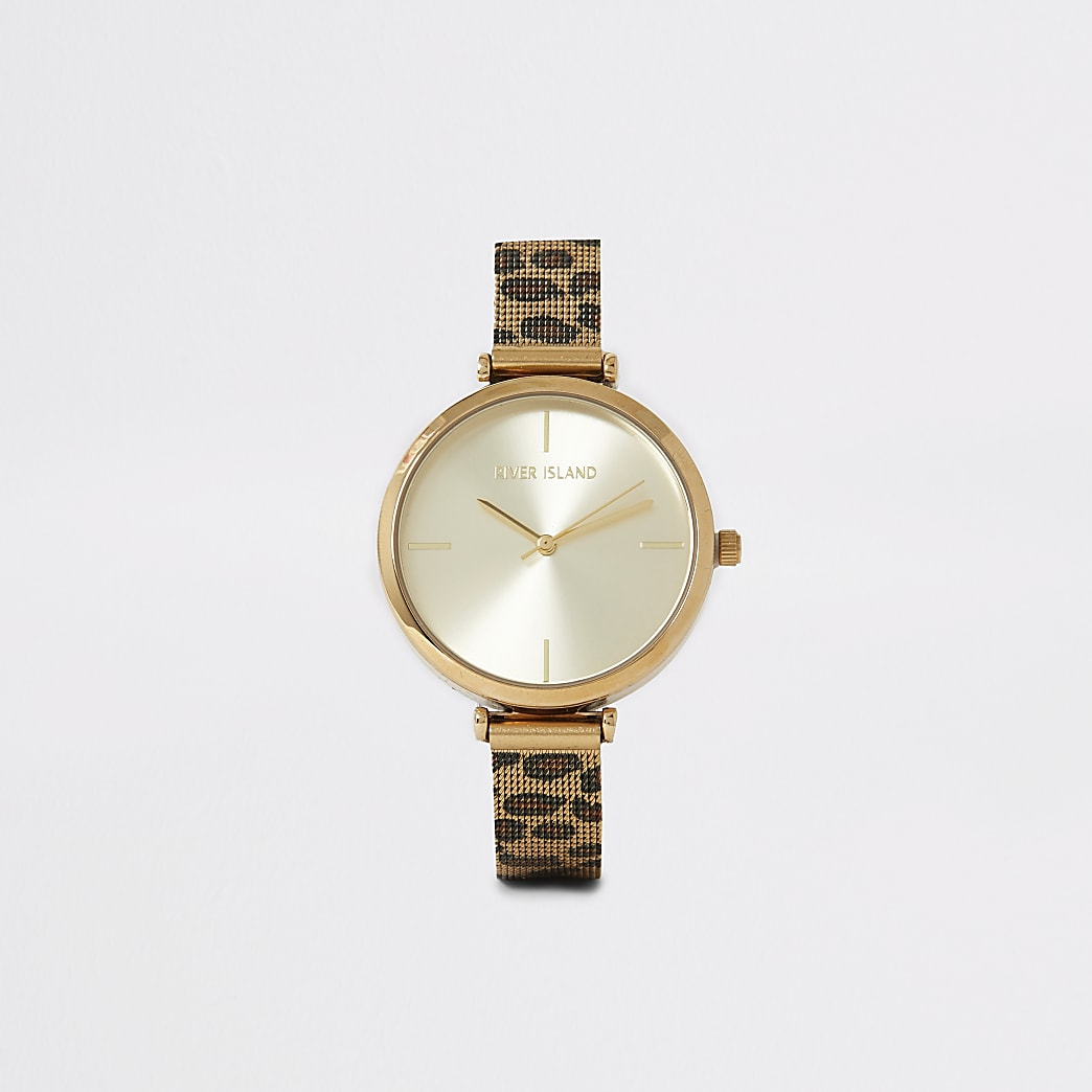 Gold colour leopard print mesh strap watch